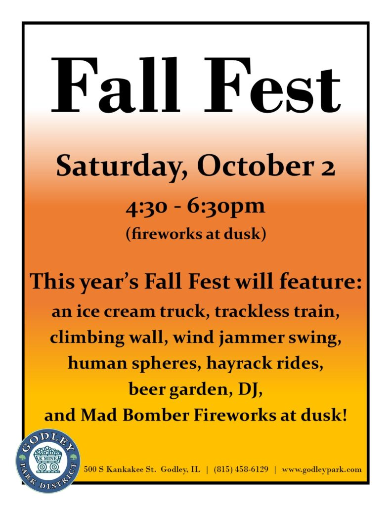 Fall Fest to be held on Oct 2 from 4:30 to 6:30pm, fireworks at dusk.