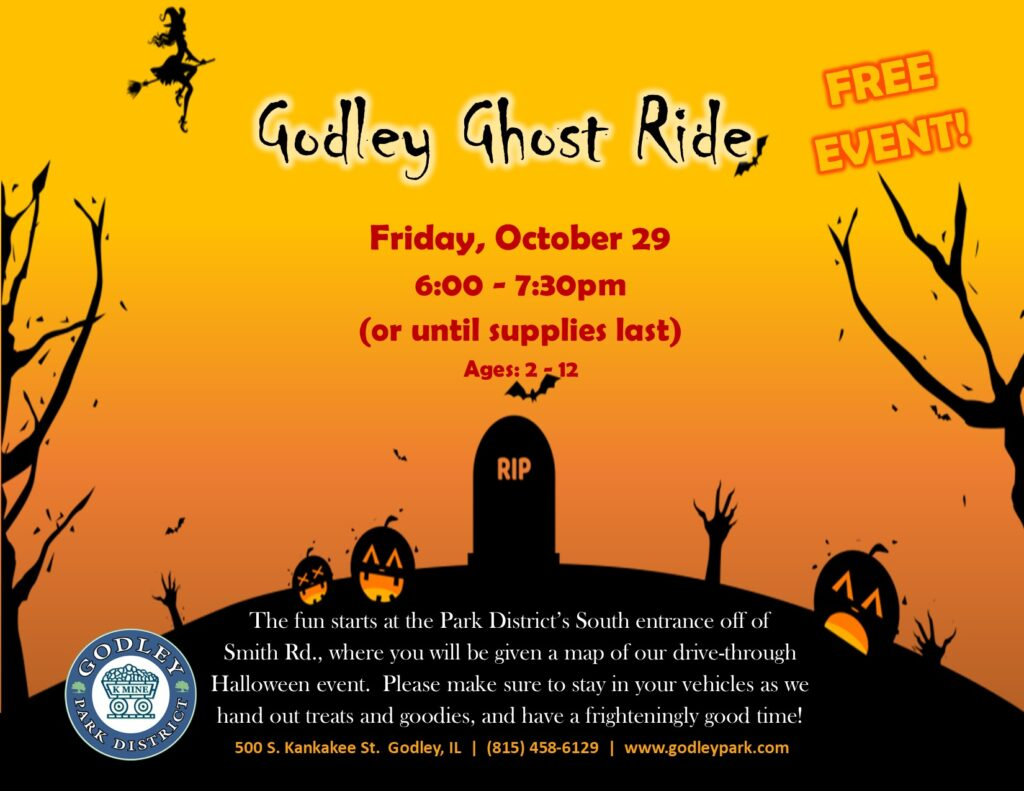 Ghost Ride, drive through trick or treat event on October 29 from 6:00 to 7:30pm, or while supplies last.  Starts at Park's South Entrance.